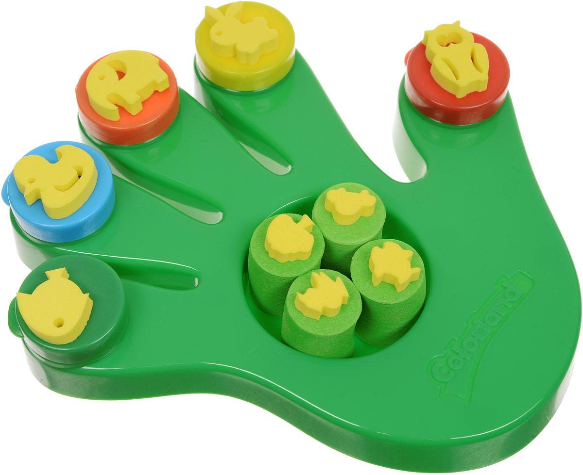 Molly Краски пальчиковые со штампами Ладошка цвет зеленый molly краски пальчиковые с трафаретом первая картина 5 цветов