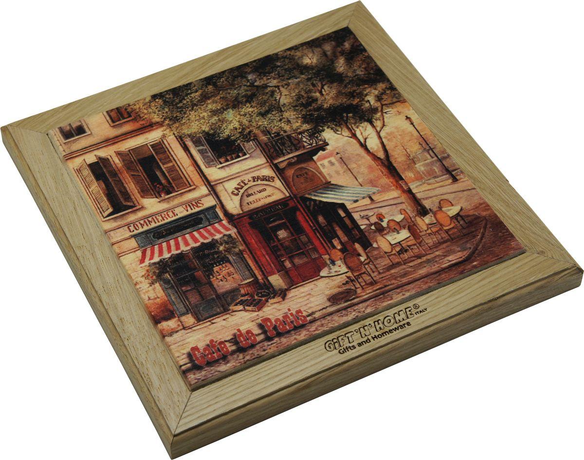 Подставка под горячее Gift'n'home Парижское кафе, цвет: дерево, 20 х 20 см салфетка подставка orange квадратная цвет сиреневый 20 см х 20 см