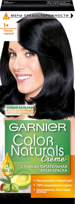 """Garnier Стойкая питательная крем-краска для волос """"Color Naturals"""", оттенок 1+, Ультра черный"""