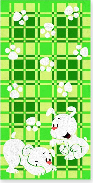 Полотенце махровое Bravo Щенки, цвет: зеленый, белый, 60 х 120 см полотенце махровое bravo фиксики нолик цвет голубой 60 х 120 см м1079 01 m