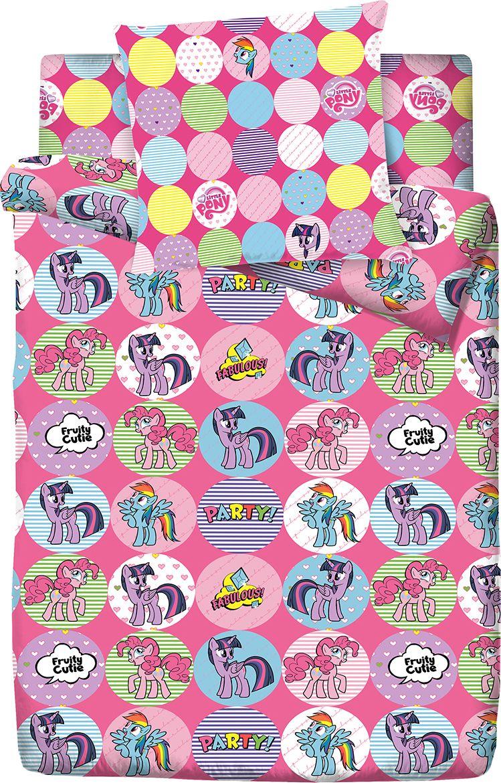 Комплект белья Пони Дружба, 1,5 спальное, наволочки 70x70, цвет: розовый. 4088-1 комплект одежды для девочки осьминожка дружба цвет молочный розовый т 3122в размер 56