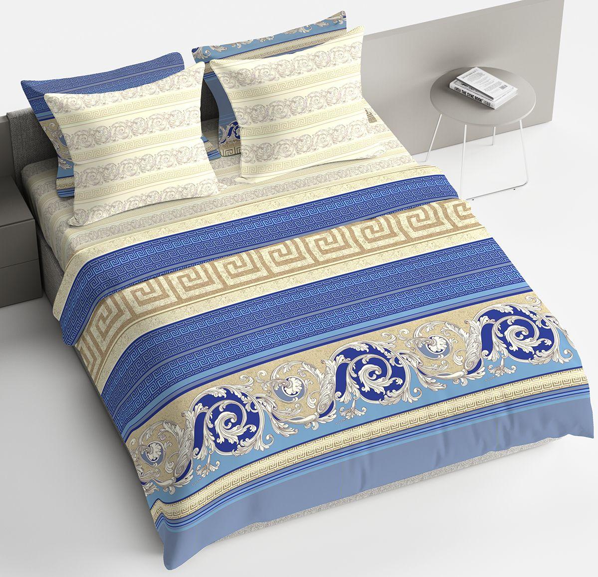 """Комплект белья Браво """"Барокко"""", 1,5-спальный, наволочки 70x70, цвет: синий"""