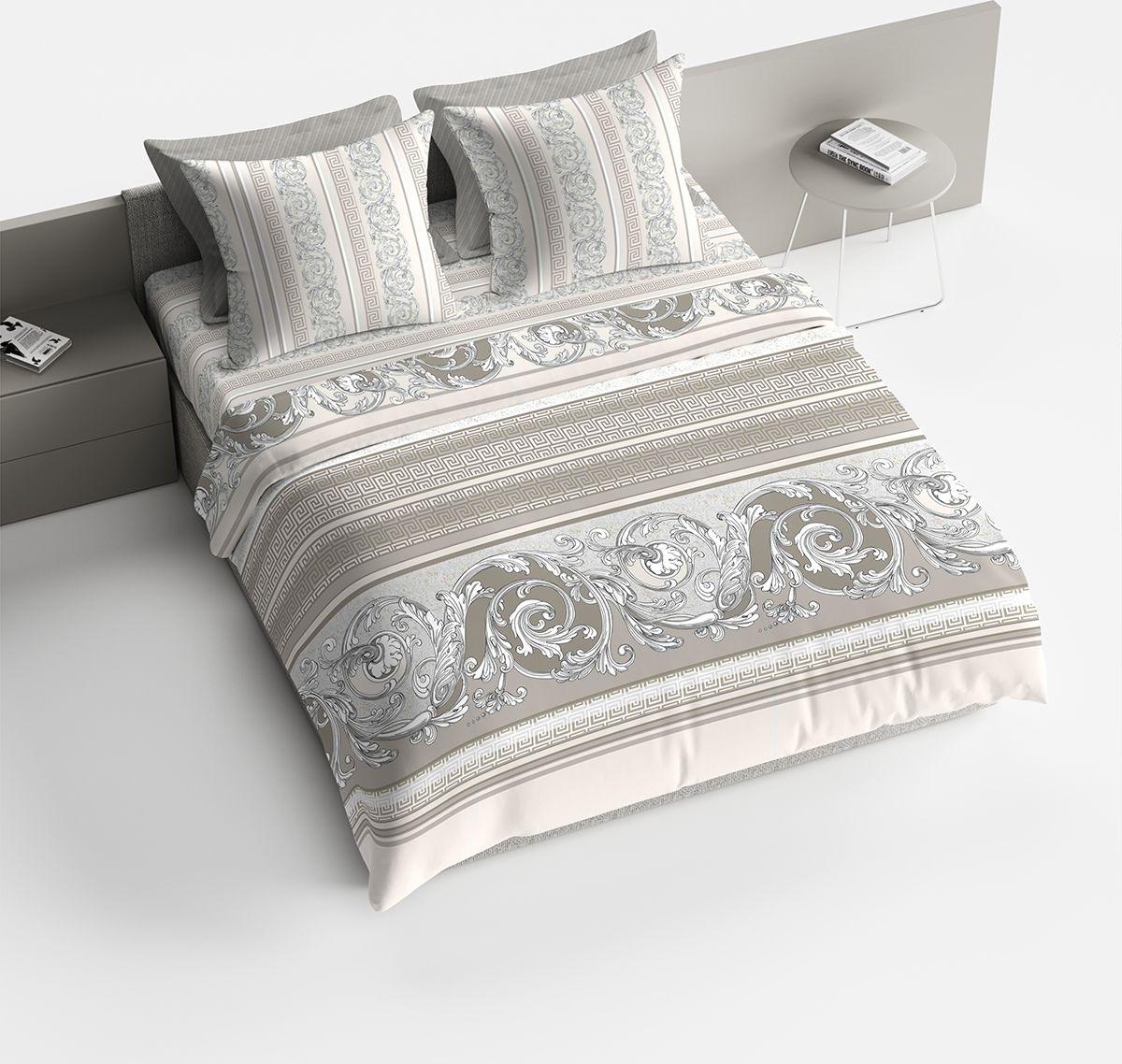 """Комплект белья Bravo """"Барокко"""", 1,5-спальный, наволочки 70x70, цвет: серый"""