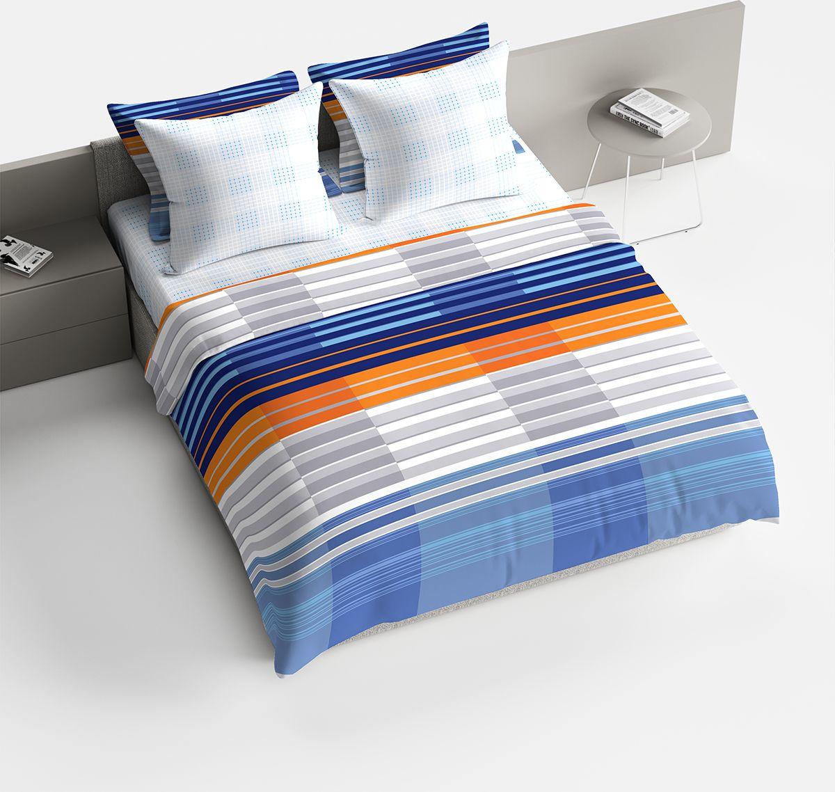 """Комплект белья Браво """"Марино"""", 1,5-спальный, наволочки 70x70, цвет: синий"""