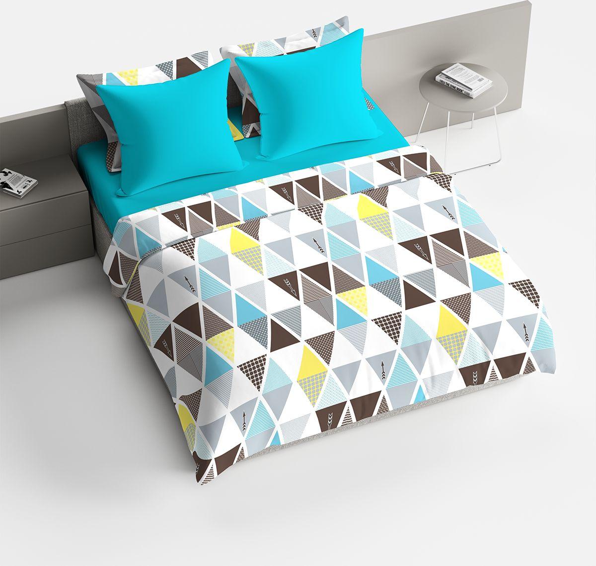"""Комплект белья Браво """"Леонард"""", 1,5-спальное, наволочки 70x70, цвет: голубой"""