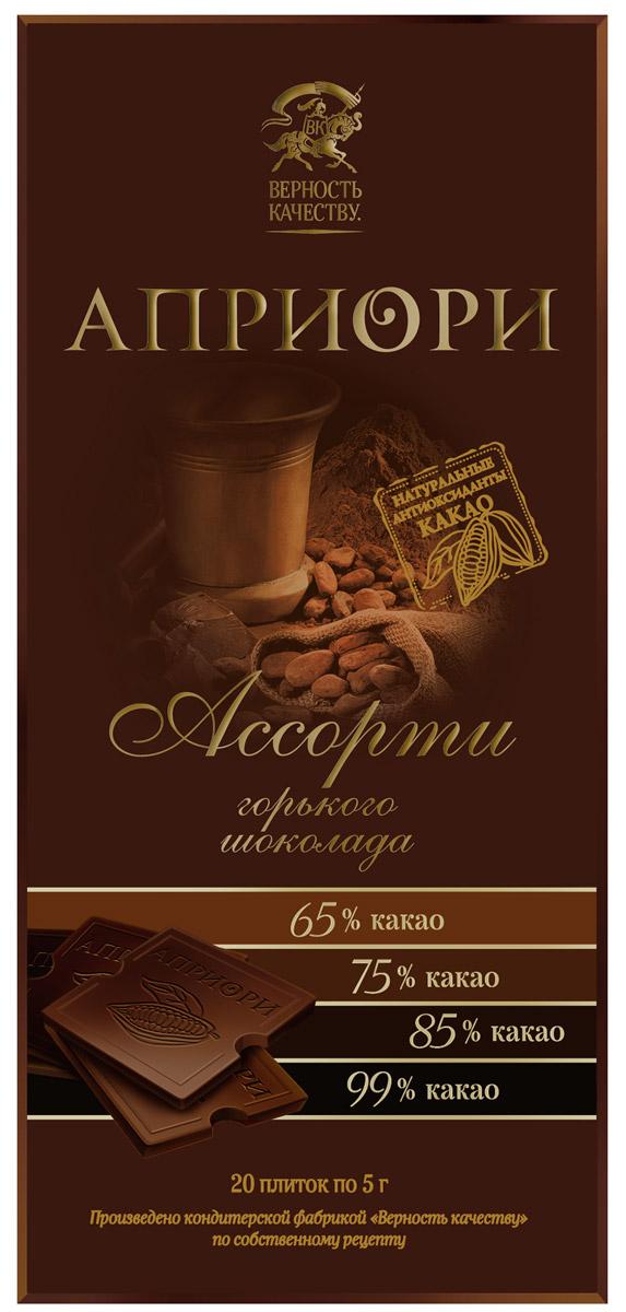 Априори горький шоколад ассорти горьких сортов, 100 г априори горький шоколад 99