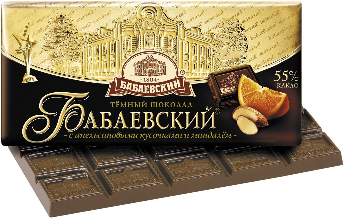 Бабаевский темный шоколад с апельсиновыми кусочками и миндалем, 100 г цена