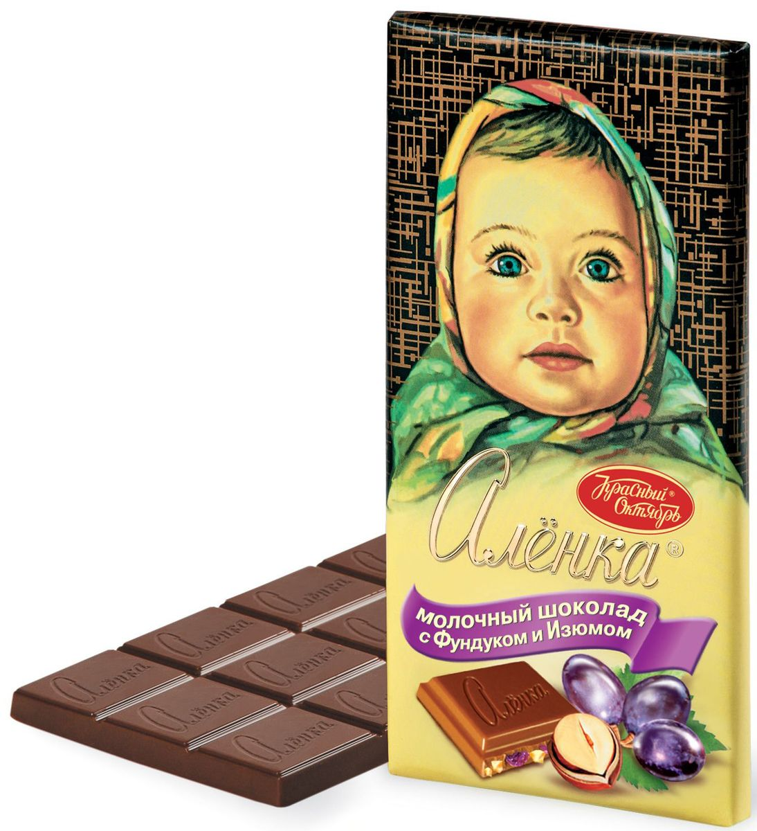 Красный Октябрь Аленка с фундуком и изюмом молочный шоколад, 100 г