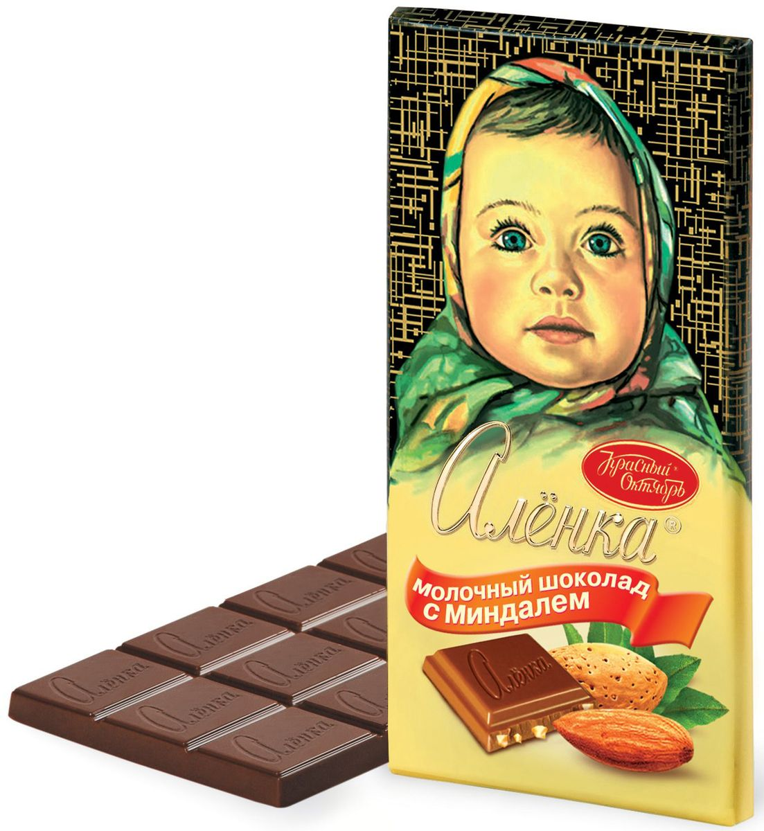 Красный Октябрь Аленка с миндалем молочный шоколад, 100 г