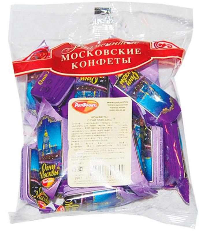 Фото - Рот-Фронт Огни Москвы конфеты с дробленым орехом в шоколадной глазури, 250 г карамель рот фронт мечта 250 г