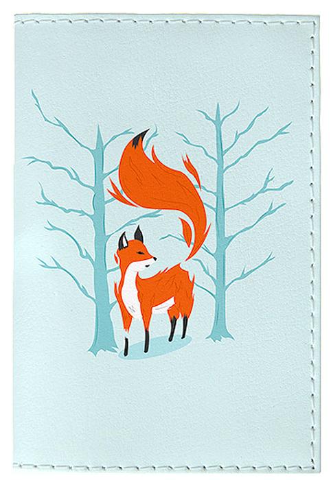 Обложка для паспорта женская Mitya Veselkov Лиса в лесу, цвет: голубой. OZAM416 обложка для автодокументов женская mitya veselkov щас спою цвет белый auto389
