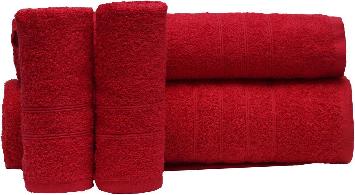 """Набор полотенец """"Proffi Home"""", цвет: красный, 4 шт. PH8394"""