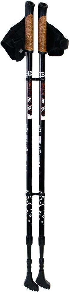 Палки для скандинавской ходьбы Gess Basic Walker, телескопические, 2 секции, цвет: черный, длина 80-135 см, 2 шт палки для скандинавской ходьбы komperdell carbon forza длина 120 см 2 шт