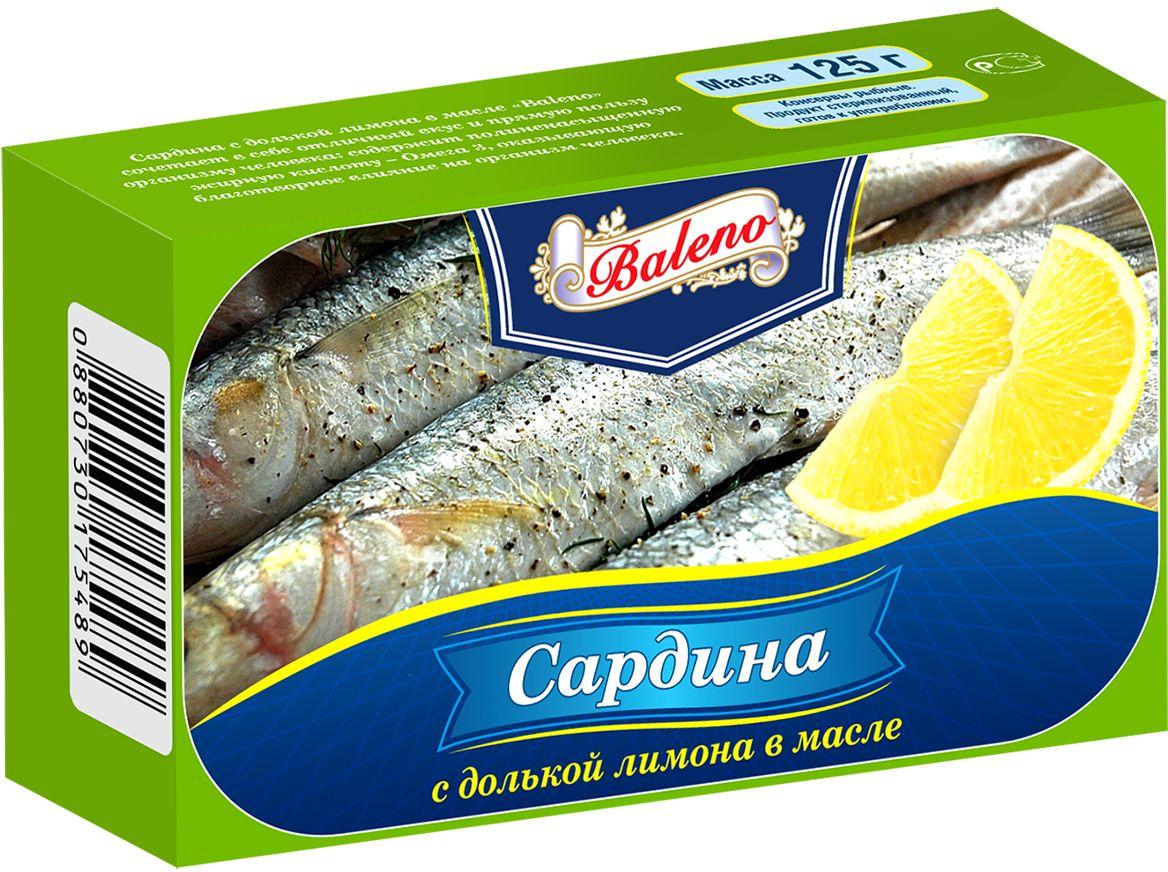 Baleno Сардина с дольками лимона в масле, 125 мл футболка baleno 88077020 bambini