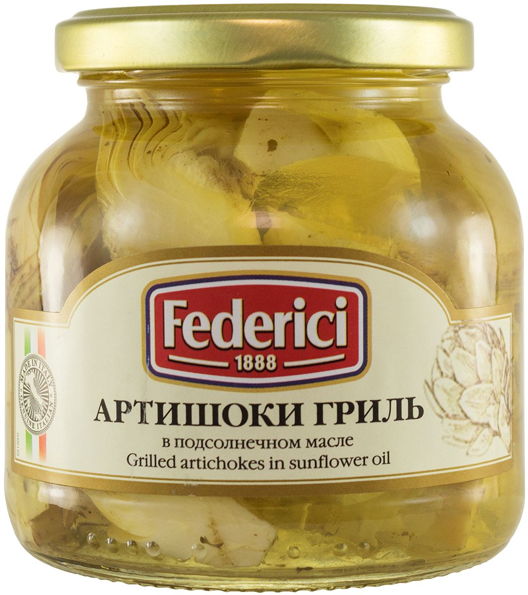 Federici Артишоки гриль в подсолнечном масле, 280 г mancin анчоусы филе в подсолнечном масле 78 г