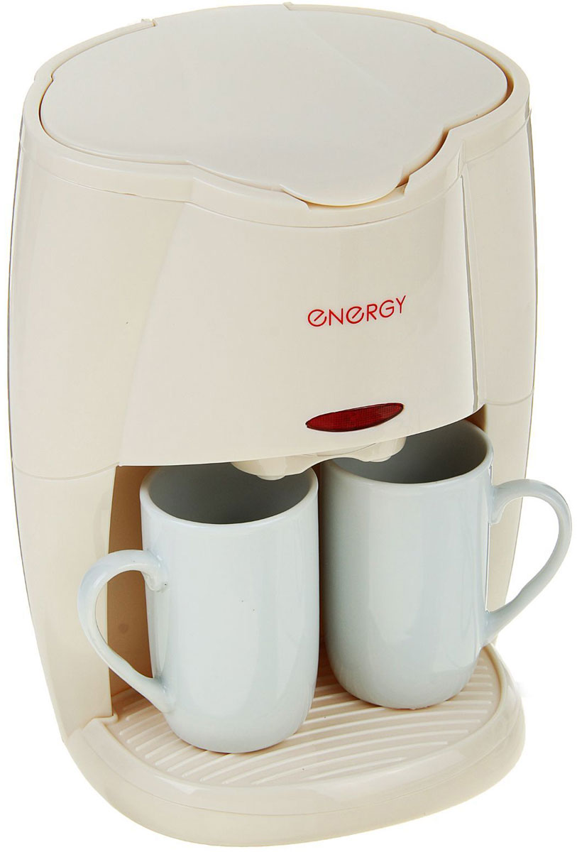 Кофеварка капельная Energy EN-601, Cream кофеварка energy en 601 450вт кремовая 2 чашки