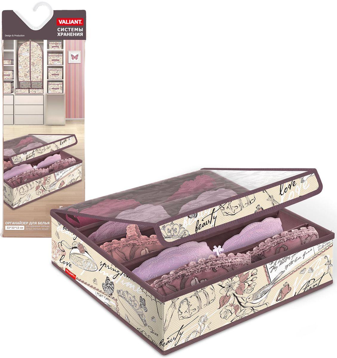 Органайзер для бюстгалтеров Valiant Romantic, с прозрачной крышкой, 32х32х12 см, 5 секций
