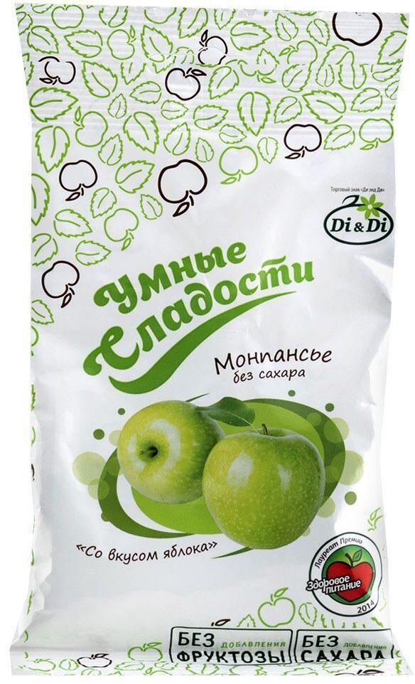 Умные сладости Леденцы без сахара зеленое яблоко, 55 г русский продукт желе зеленое яблоко 35 шт по 50 г