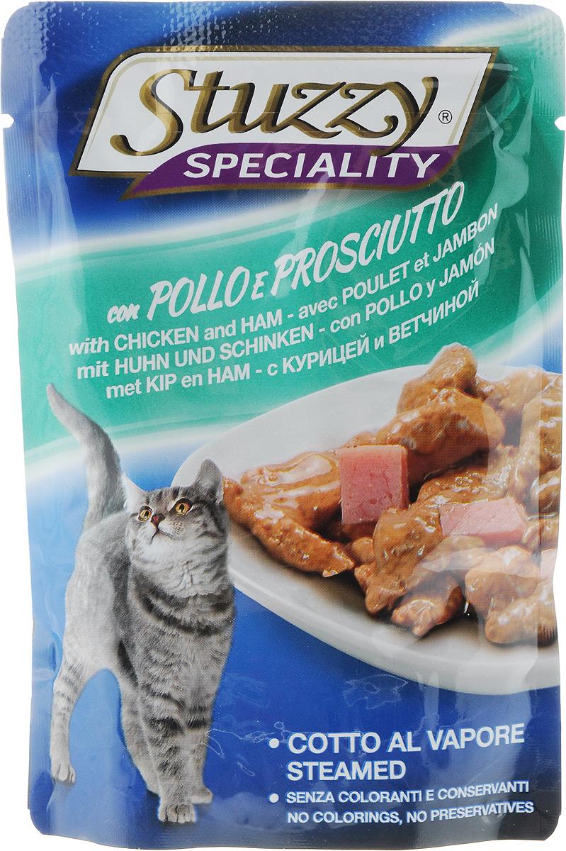 Консервы Stuzzy Speciality, для взрослых кошек, с курицей и ветчиной, 100 г консервы для взрослых кошек stuzzy gold с кроликом 85 г