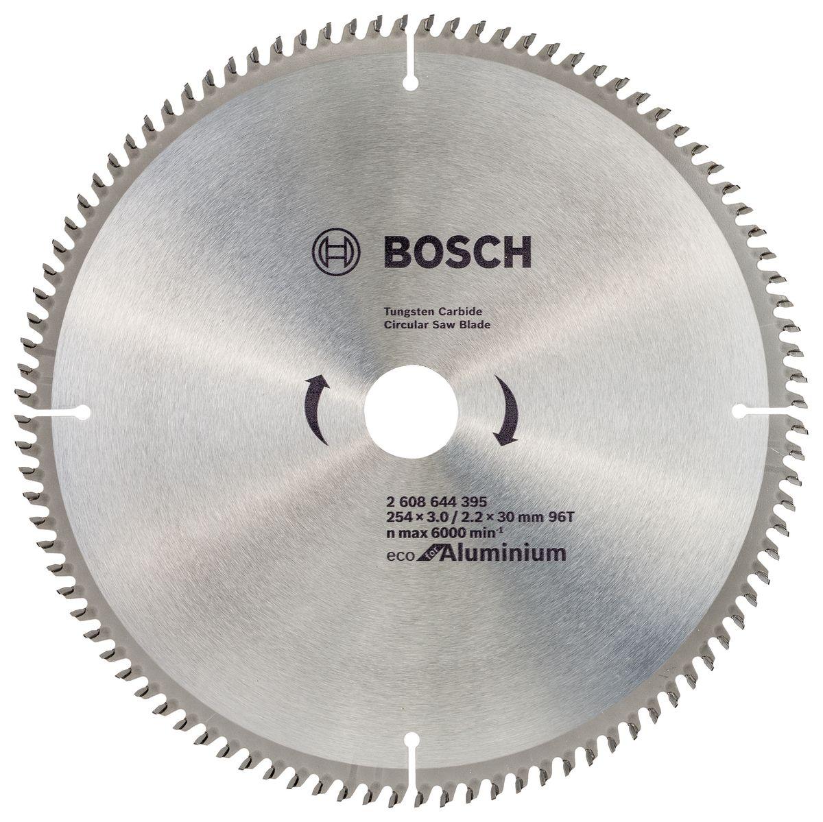 Диск пильный Bosch ECO, для алюминия, 96Т, 254 x 30 мм. 2608644395 bosch 2608644380 пильный диск eco wo 200x32 48t