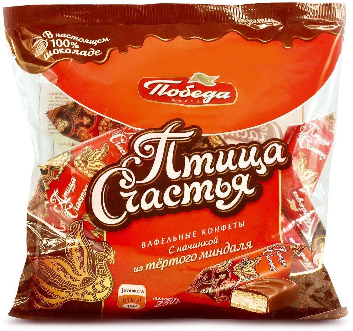 Победа вкуса Птица счастья вафельные конфеты с начинкой из тертого миндаля в сливочном шоколаде, 250 г шоколад молочный lindt creation пралине с вафлей 150 г