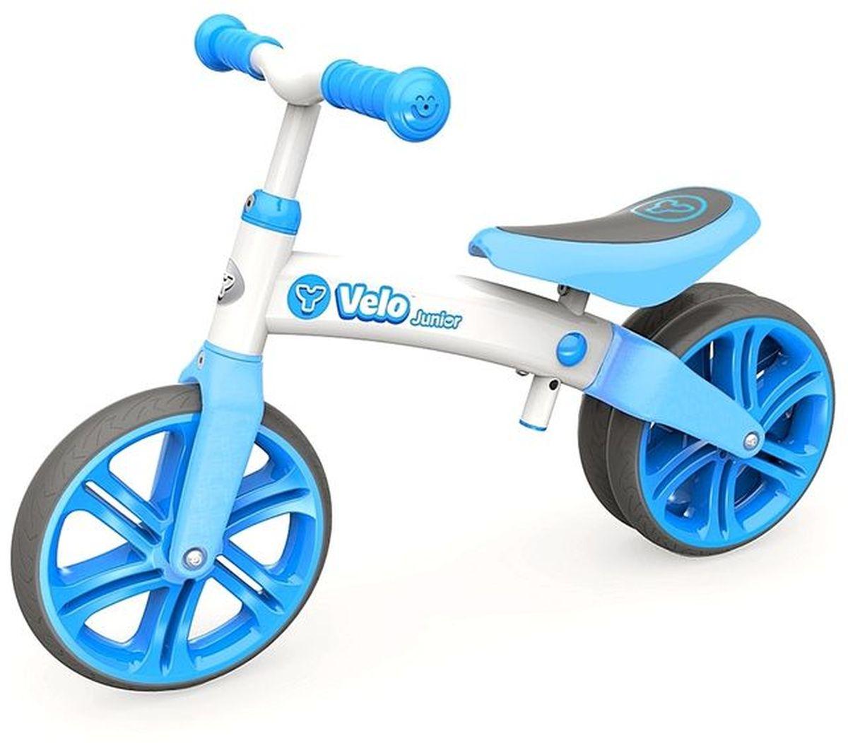 все цены на Y-Volution Беговел двухколесный Velo Junior с двойным колесом цвет голубой онлайн