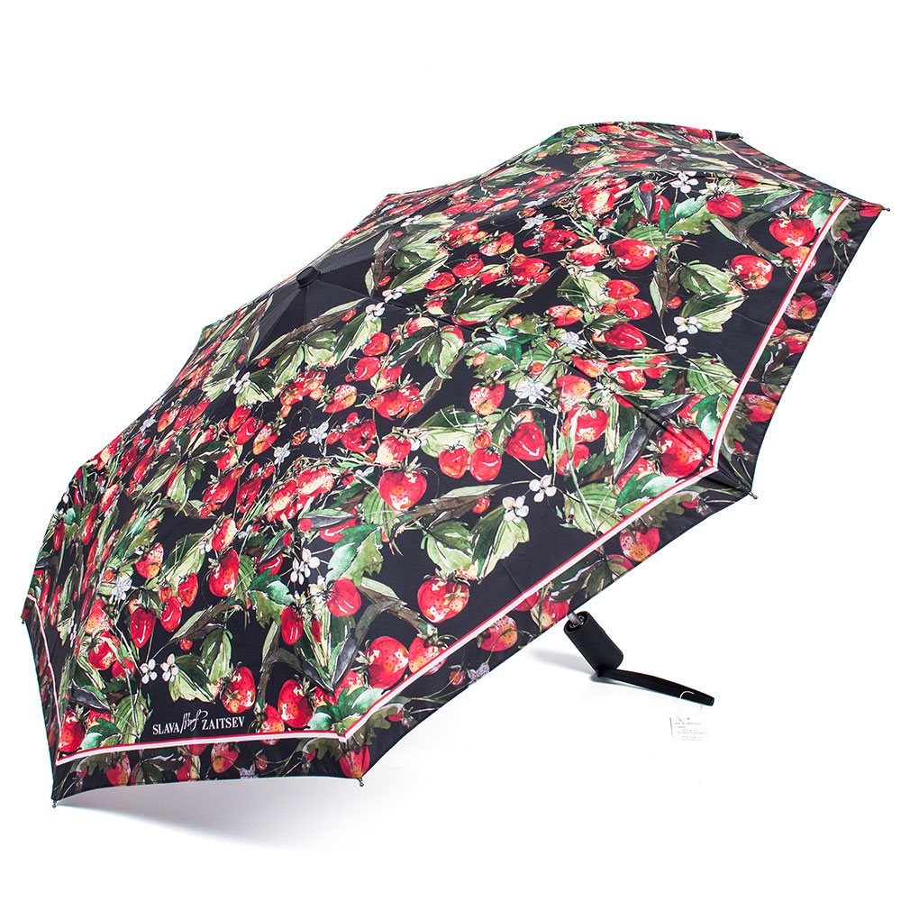 Зонт женский Slava Zaitsev, автомат, 3 сложения, цвет: черный, красный. SZ-065/3 зонт slava zaitsev