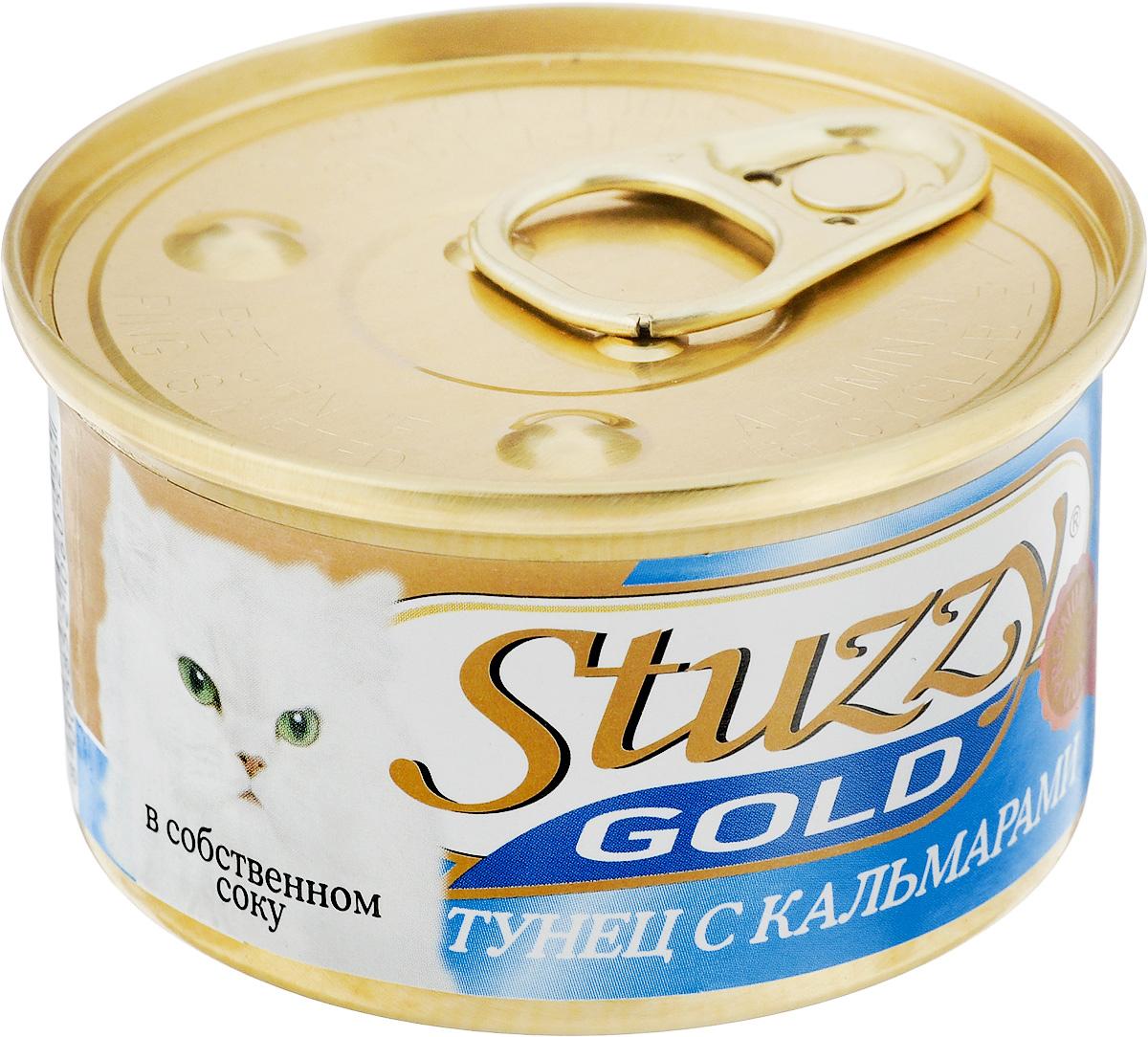 Консервы для взрослых кошек Stuzzy Gold, тунец с кальмарами в собственном соку, 85 г консервы для взрослых кошек stuzzy gold с кроликом 85 г