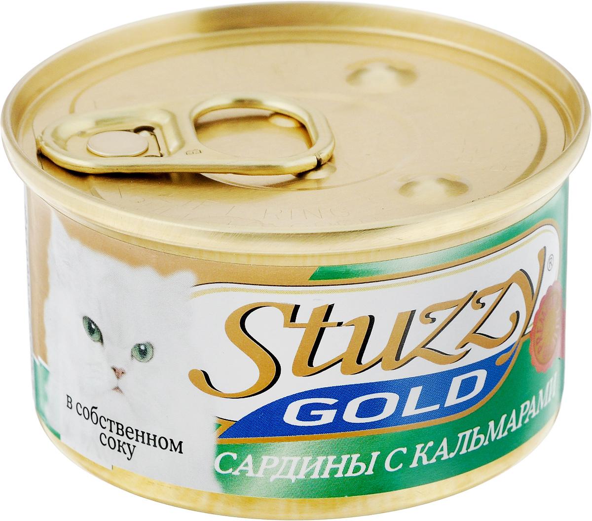 Консервы для взрослых кошек Stuzzy Gold, сардины с кальмарами в собственном соку, 85 г132.C401Консервы для кошек Stuzzy Gold - это дополнительный рацион для взрослых кошек. Корм обогащен таурином и витамином Е для поддержания правильной работы сердца и иммунной системы. Инулин обеспечивает всасывание питательных веществ, а биотин способствуют великолепному внешнему виду кожи и шерсти. Корм приготовлен на пару, не содержит красителей и консервантов. Состав: субпродукты морепродуктов: сардины 57,6%, кальмары 4,7%, креветки 2,4%, мидии 0,9%.Питательная ценность: белок 11,2%, жир 2,8%, клетчатка 0,1%, зола 2,6%, влажность 82%.Питательные добавки (на кг): витамин А 1325 МЕ, витамин D3 110 МЕ, витамин Е 15 мг,таурин 160 мг. Товар сертифицирован.
