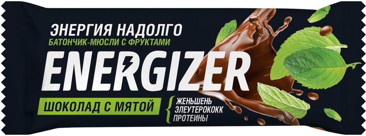 Energizer Шоколад с мятой батончик-мюсли с фруктами, 40 г цена в Москве и Питере