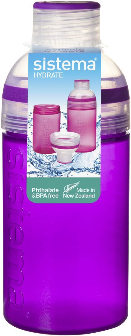 Бутылка для воды Sistema Hydrate. Трио, цвет: фиолетовый, 480 мл. 820 sistema бутылка для воды hydrate 620 мл 6 7х22 5 см 795 sistema