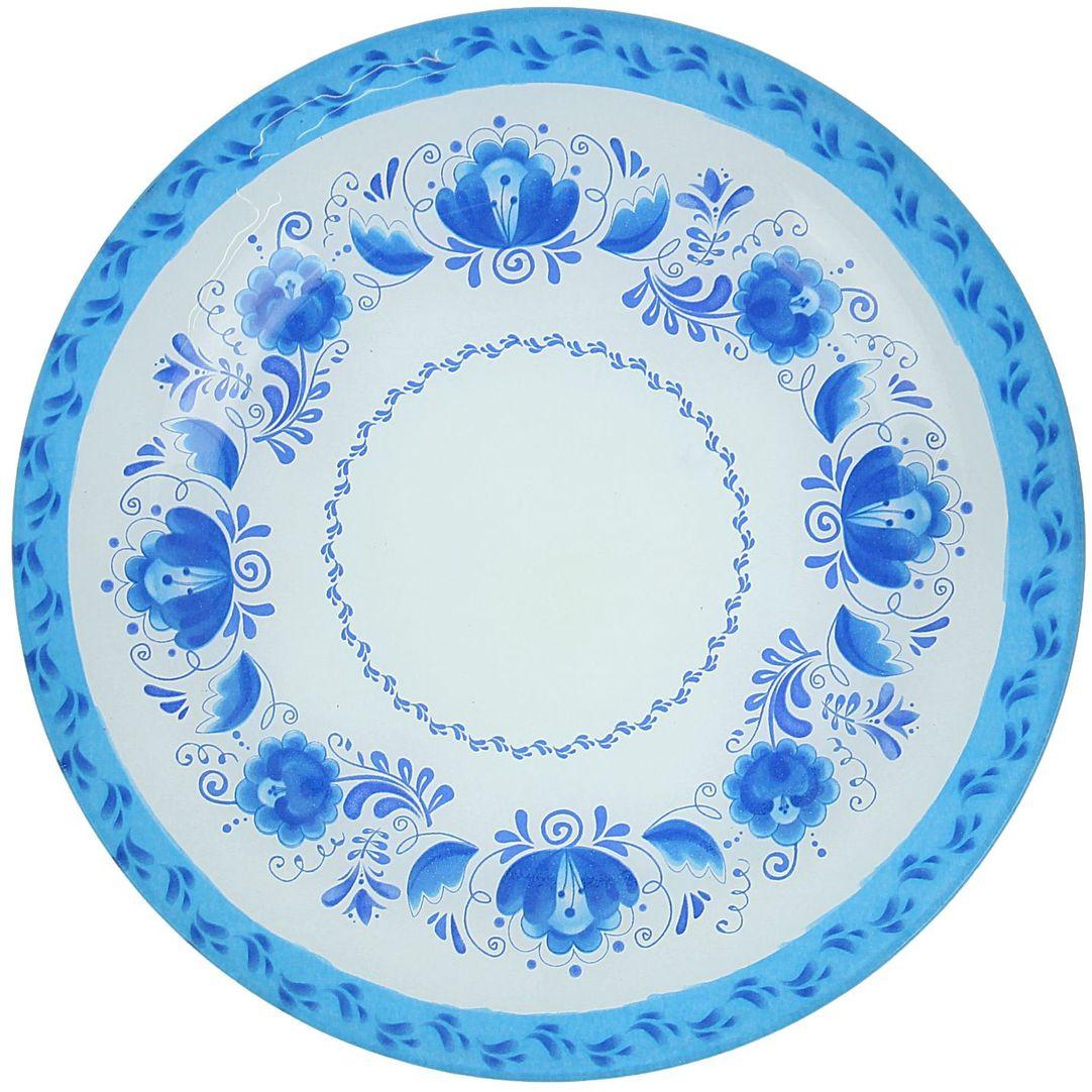 Тарелка Доляна Гжель, диаметр 22 см1571461Тарелка Доляна с природными мотивами в оформлении разнообразит интерьер кухни и сделает застолье самобытным и запоминающимся. Качественное стекло не впитывает запахов, гладкая поверхность обеспечивает легкость мытья. Рекомендуется избегать использования абразивных моющих средств. Делайте любимый дом уютнее!
