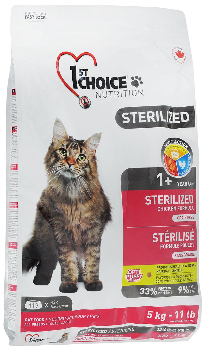 """Корм сухой 1st Choice """"Sterilized"""" для стерилизованных кошек, с курицей и бататом, 5 кг"""