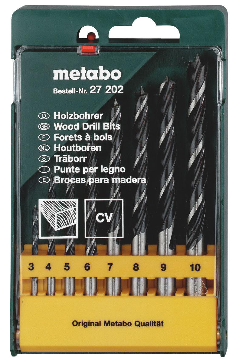 Набор сверел по дереву Metabo CV, 3-10 мм, 8 шт сверло калибр 3 4 5 6 7 8 9 10 мм по дереву 8шт