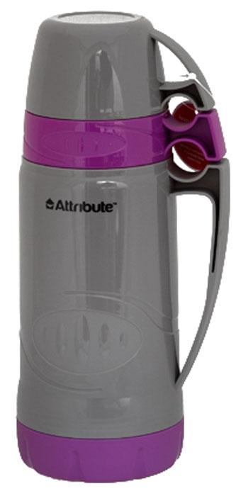 Термос Attribute Family, с 2 чашками, цвет: серый, фиолетовый, 1 л термос attribute family 1 8л