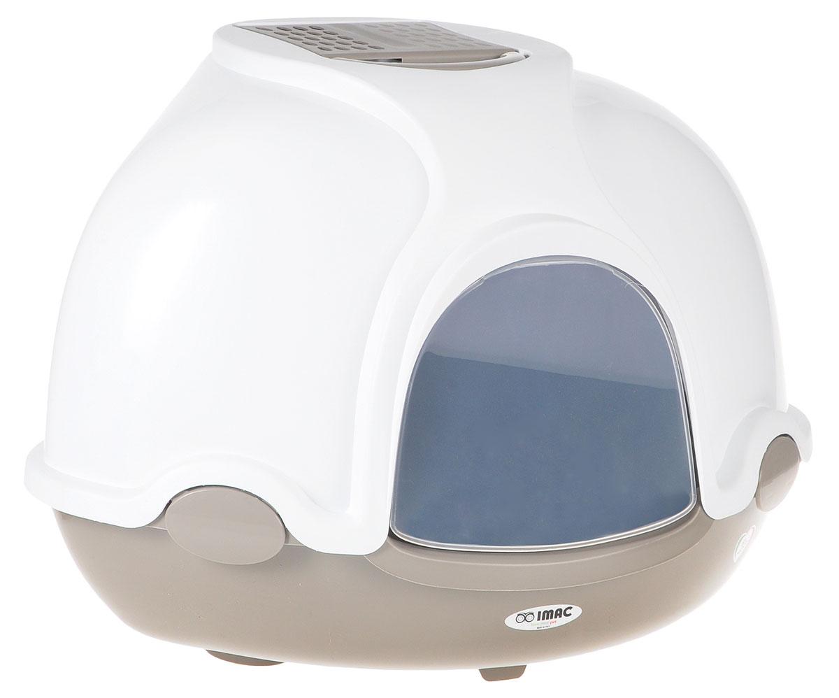 Туалет для кошек IMAC Ginger, закрытый, угловой, цвет: белый, капучино, 50 х 50 х 44,5 см туалет ferplast cosmic уличный закрытый с угольным фильтром для кошек 73 5 43 5 41см