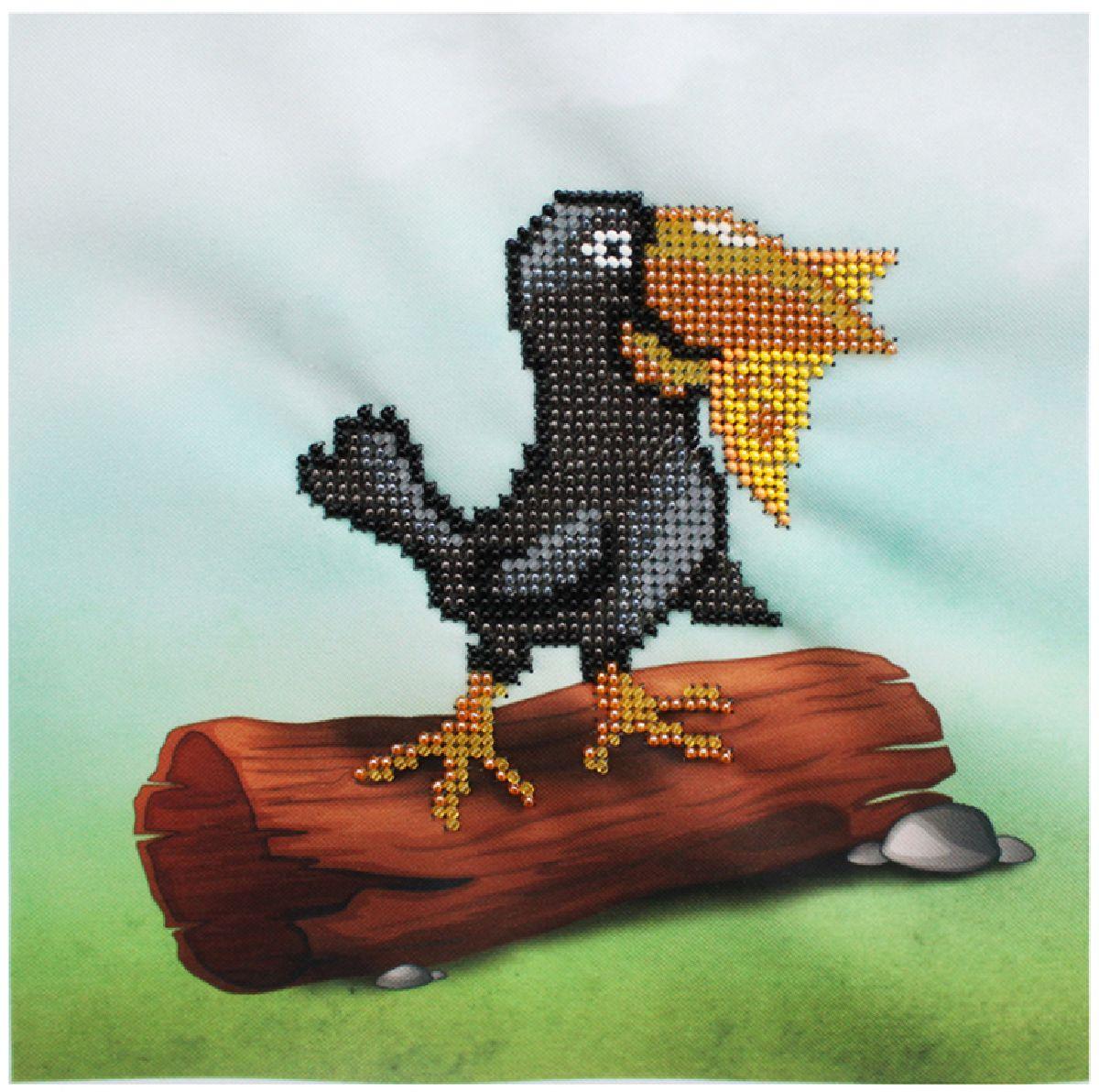 Набор для вышивания бисером Бисеринка Ворона, 20 х 20 см набор для вышивания бисером бисеринка под зонтиком 12 х 12 см