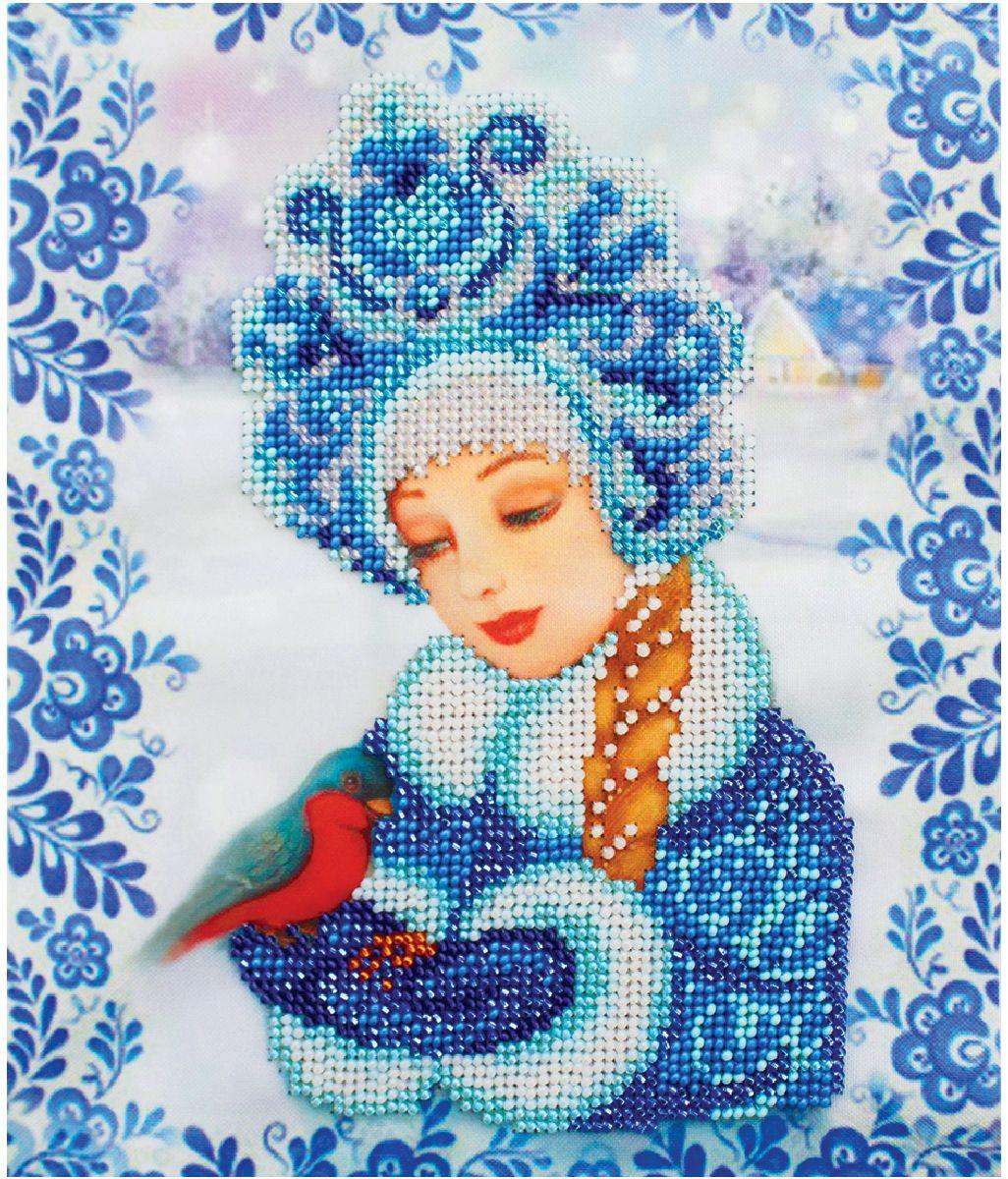 Набор для вышивания бисером Бисеринка Снегурочка, 18,5 х 22 см набор для вышивания бисером бисеринка под зонтиком 12 х 12 см