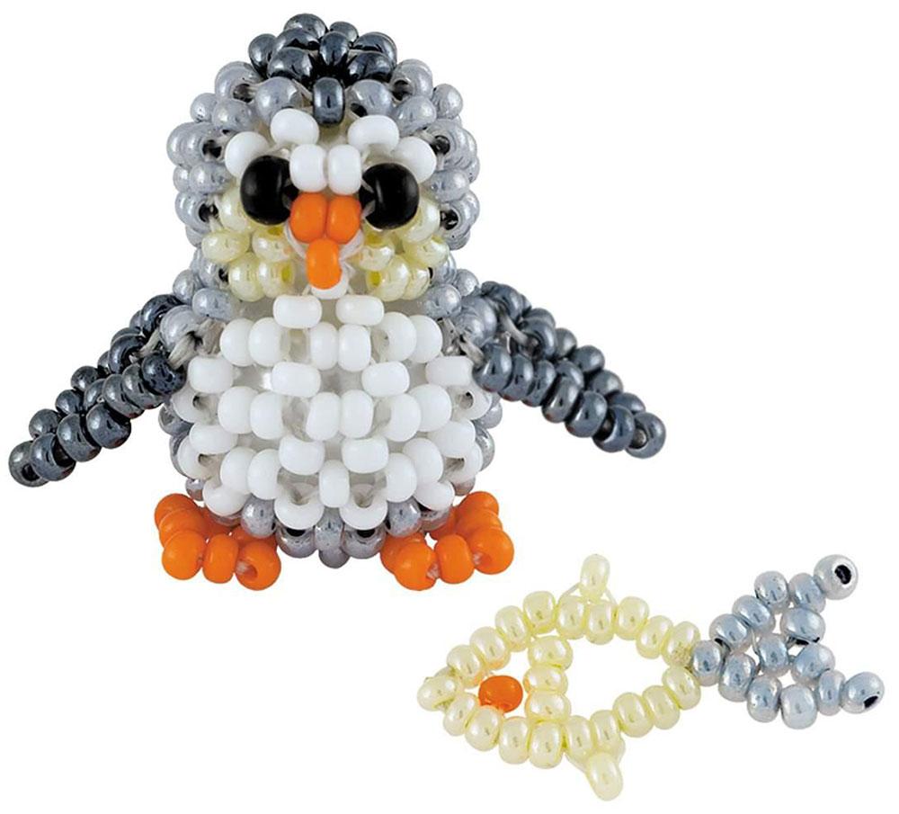 """Набор для бисероплетения Riolis """"Пингвиненок с рыбкой"""", цвет: серый, белый, оранжевый, 2,5 х 2,5 см"""