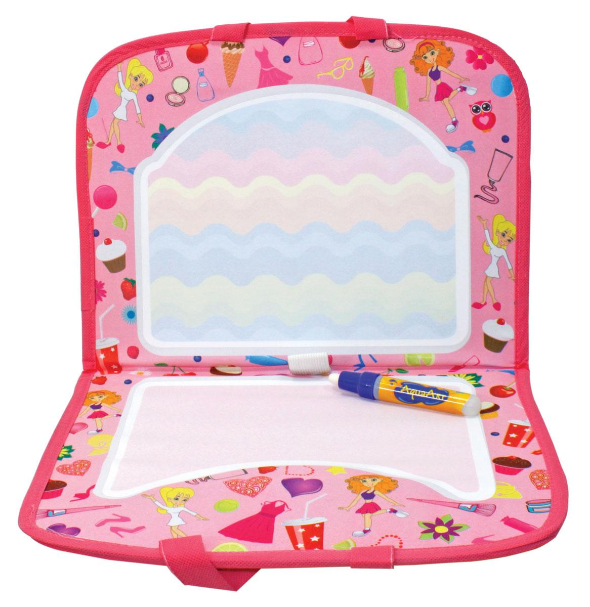 1TOY Коврик для рисования AquaArt с ручками цвет розовый