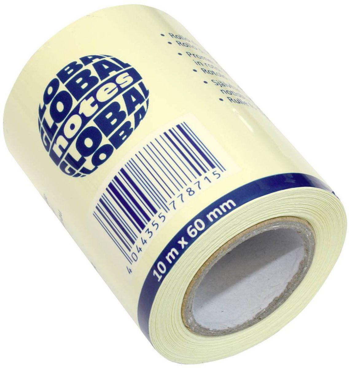 Global Notes Бумага для заметок с липким слоем цвет желтый 60 мм х 10 м 362001 бумага для заметок с липким слоем 76х76 мм розовая пастель 450 л