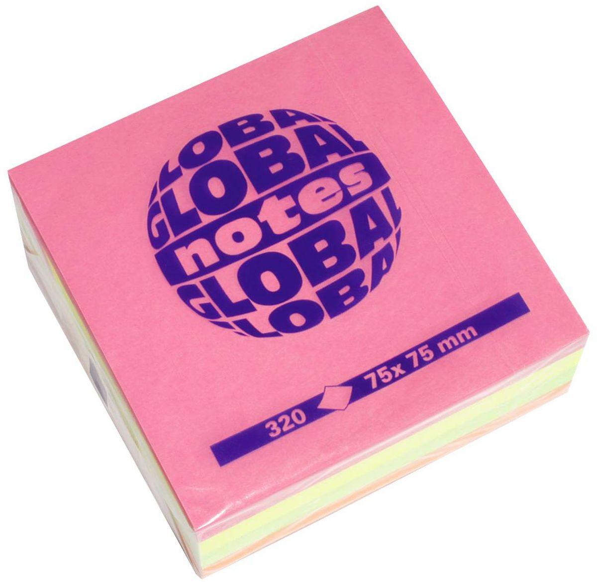 Global Notes Бумага для заметок с липким слоем 7,5 х 7,5 см 320 листов berlingo бумага для заметок c клеевым краем 7 6 х 7 6 см цвет зеленый 100 листов