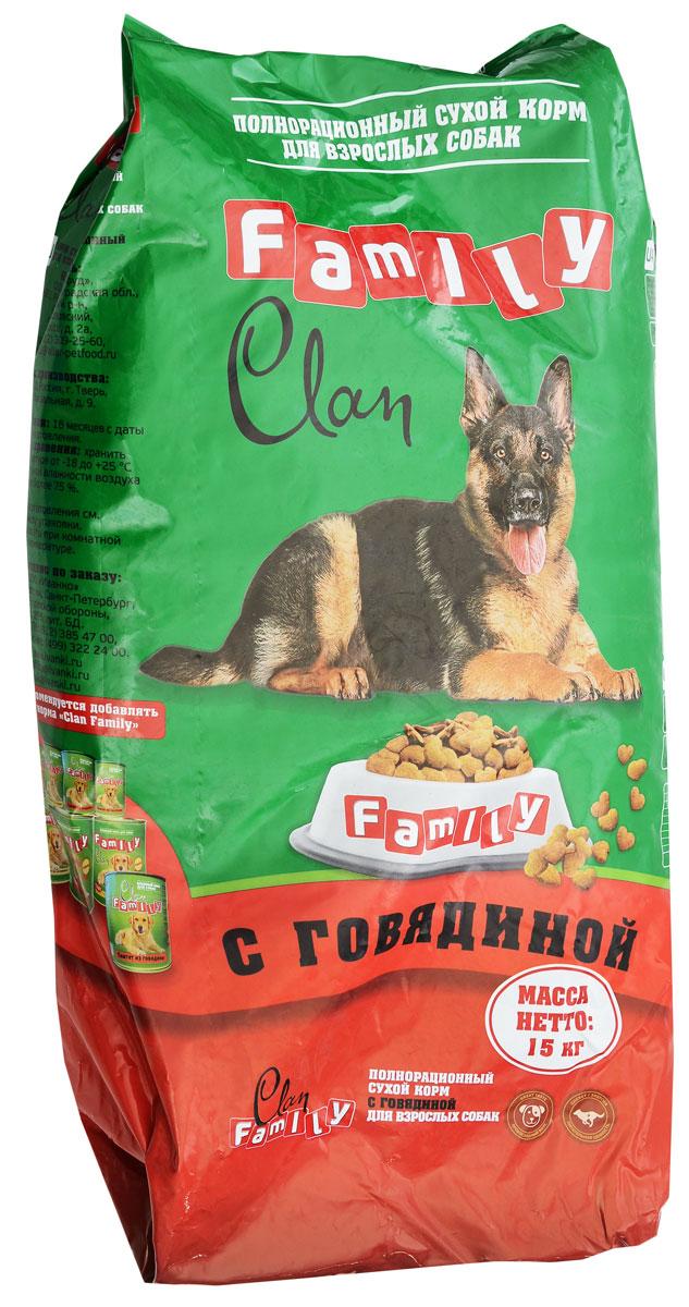 """Корм сухой для собак Clan """"Family"""", говядина, 15 кг,"""