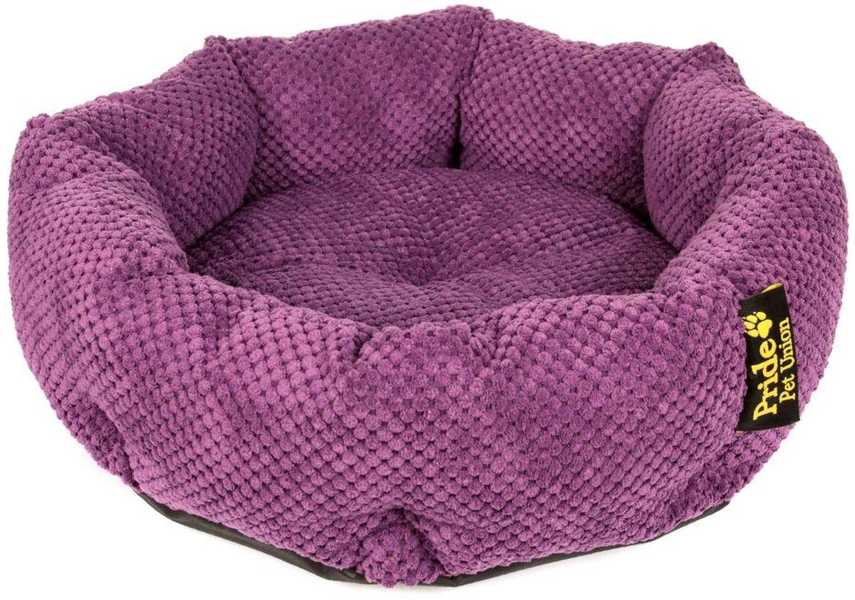 Лежак для животных Pride Ватрушка. Велюр, цвет: фиолетовый, 45 х 45 х 12 см ватрушка для животных pride палитра цвет красный 45 х 45 х 12 см 10011531