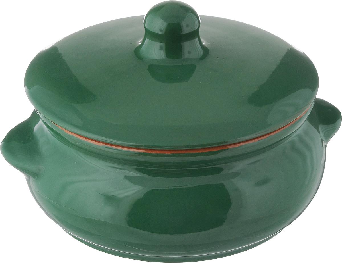 Горшок для запекания Борисовская керамика Радуга, с крышкой, цвет: зеленый, 700 мл горшок для запекания борисовская керамика радуга с крышкой цвет голубой желтый 700 мл