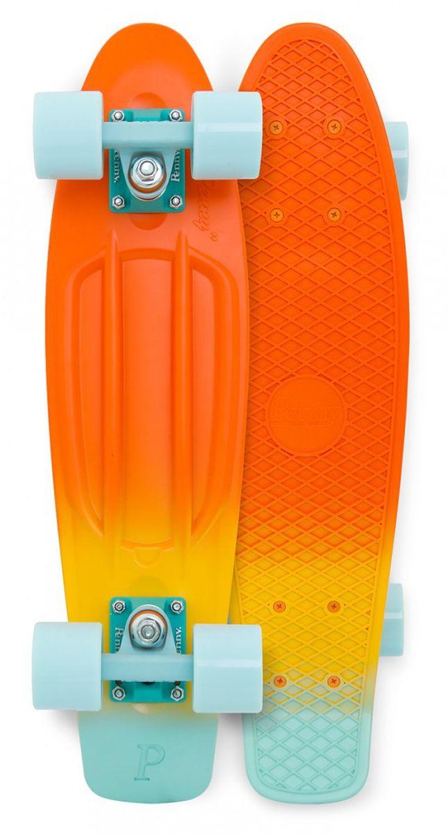 """Пенни борд Penny """"Original"""", цвет: оранжевый, желтый, светло-голубой, дека 57 х 15 см"""
