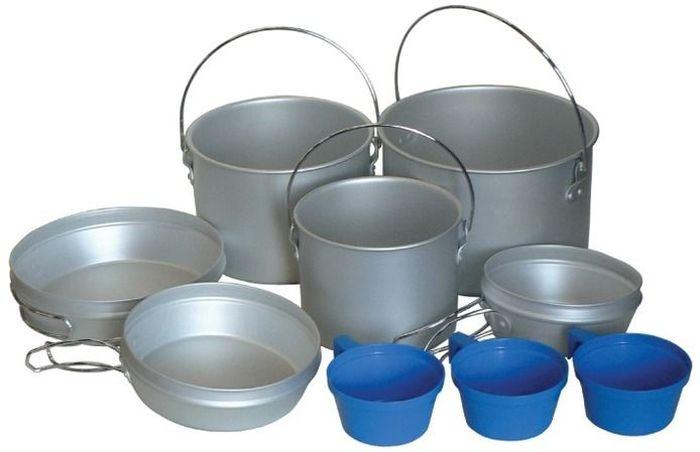 Набор походной посуды Tramp, 9 предметов, цвет: серый. TRC-002 котелок tramp с крышкой сковородой цвет серый trc 039