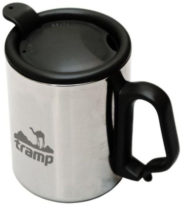 Термокружка Tramp, с поилкой, с защелкой, цвет: серый, 350 мл. TRC-020 термокружка tramp цвет серый металлик 225 мл trc 008