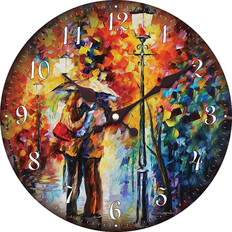 """Часы настенные Белоснежка """"Поцелуй под дождем"""", диаметр 34 см"""