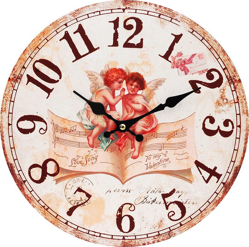"""Часы настенные Белоснежка """"Музыка ангелов"""", диаметр 34 см"""
